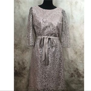 Shoshanna Silver and Blush Metallic Lace Dress